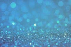 Голубой свет bokeh круги запачканные нежностью светлой белизны Стоковая Фотография RF