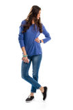 голубой свитер девушки Стоковое фото RF