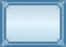 голубой сертификат Пробел должностного лица Горизонтальный пробел шаблон Стоковые Фотографии RF