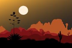 Голубой силуэт столетника в пустыне ночи Предпосылка гор также вектор иллюстрации притяжки corel Стоковое Фото
