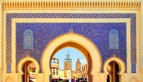 Голубой строб Bab Boujelud в Fes, Марокко стоковая фотография rf