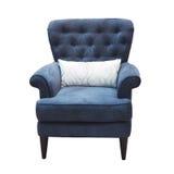 Голубой стул при изолированная подушка Стоковые Фото