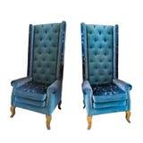 Голубой стул руки изолированный на белой предпосылке Стоковое Фото