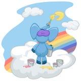 Голубой слон стоит на облаке и рисует солнце Стоковое Изображение