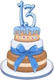 Голубой торт бар-мицва для 13th дня рождения Стоковые Изображения RF