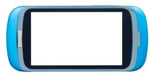 Голубой умный телефон с отрезка экраном вне Стоковые Изображения RF