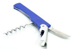 Голубой универсальный инструмент с cockscrew и изолированный ножевой клин Стоковое Изображение RF