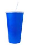 Голубой устранимый бумажный стаканчик на белизне Стоковое Изображение