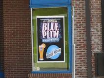 Голубой фестиваль сливы - знак объявляя фестиваль Стоковое Изображение RF