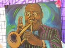 Голубой фестиваль сливы - изображение трубача Стоковые Фотографии RF