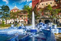 Голубой фонтан в городке Subotica, Сербии Стоковые Фотографии RF