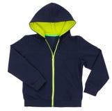Голубой фронт дизайна hoodie изолированный на белизне Стоковое Фото