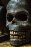 Голубой череп в нижнем свете стоковые изображения