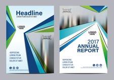 Голубой шаблон дизайна рогульки годового отчета брошюры Стоковое Фото