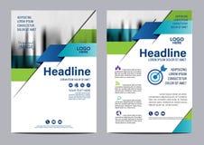 Голубой шаблон дизайна рогульки годового отчета брошюры Стоковое Изображение