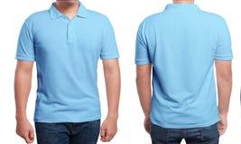 голубой шаблон рубашки поло конструкции Стоковые Фото
