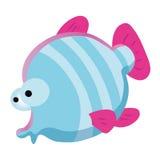 Голубой шарж рыб милый Стоковое Изображение RF