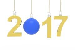 Голубой шарик рождества на голубой предпосылке Стоковые Изображения