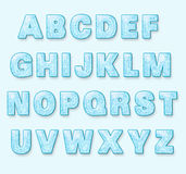 Голубой шрифт зимы Snowy иллюстрация вектора