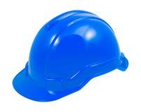 Голубой шлем безопасности на белой предпосылке Стоковые Изображения RF