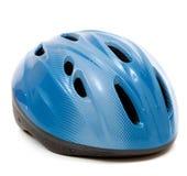 Голубой шлем велосипеда на белой предпосылке Стоковые Фото