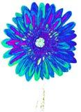 Голубой gerbera, крася Стоковая Фотография