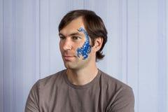 Голубой Scorpio facepainting Стоковые Изображения RF