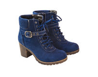 голубой shammy женщины ботинка Стоковое Фото