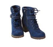 голубой shammy женщины ботинка Стоковое Изображение
