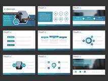 Голубые абстрактные шаблоны представления, дизайн шаблона элементов Infographic плоский установили для листовки рогульки брошюры  иллюстрация вектора