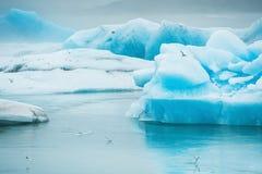 Голубые айсберги в лагуне Jokulsarlon ледниковой Стоковое Изображение