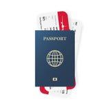 Голубые билеты пасспорта и посадочного талона Реалистический дизайн также вектор иллюстрации притяжки corel Стоковая Фотография