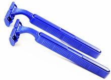 Голубые бритвы на белой предпосылке Стоковая Фотография