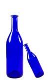 Голубые бутылки изолированные на белой предпосылке Стоковые Фото