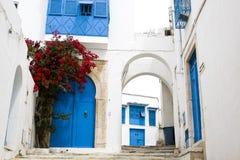 Голубые двери, окно и белая стена здания в Sidi Bou сказали Стоковые Фотографии RF