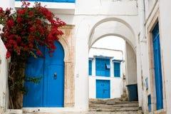 Голубые двери, окно и белая стена здания в Sidi Bou сказали Стоковые Изображения RF