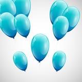Голубые воздушные шары с белой предпосылкой Стоковая Фотография
