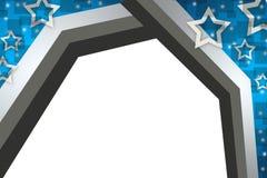 голубые граница и звезды, абстрактная предпосылка Стоковые Изображения