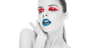 Голубые губы и красный вкладыш глаза Стоковые Фотографии RF
