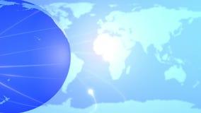 Голубые глобус земли и предпосылка карты иллюстрация штока