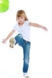 голубые джинсыы девушки немногая Стоковые Фотографии RF
