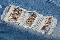 Голубые джинсы заплаты Стоковое фото RF