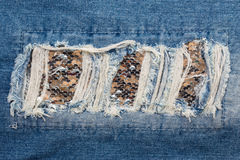 Голубые джинсы заплаты Стоковые Изображения