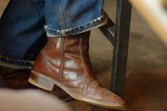 Голубые джинсы и ботинки Стоковое Изображение