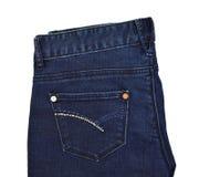 Голубые джинсы подпирают карманн с искусственным диамантом Стоковое Фото