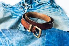 голубые джинсы предпосылки славные Стоковая Фотография