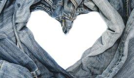 Голубые джинсы с концепцией влюбленности стоковые изображения rf
