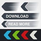 Голубые, зеленые, красные, белые и серые стрелки скорости Простые кнопки стрелки Указатель на сети Знак загрузки, следующий, проч Стоковые Изображения RF