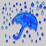 Голубые зонтик и дождевые капли Стоковое Изображение RF