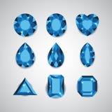 Голубые диаманты и рубиновые значки вектора Стоковая Фотография RF